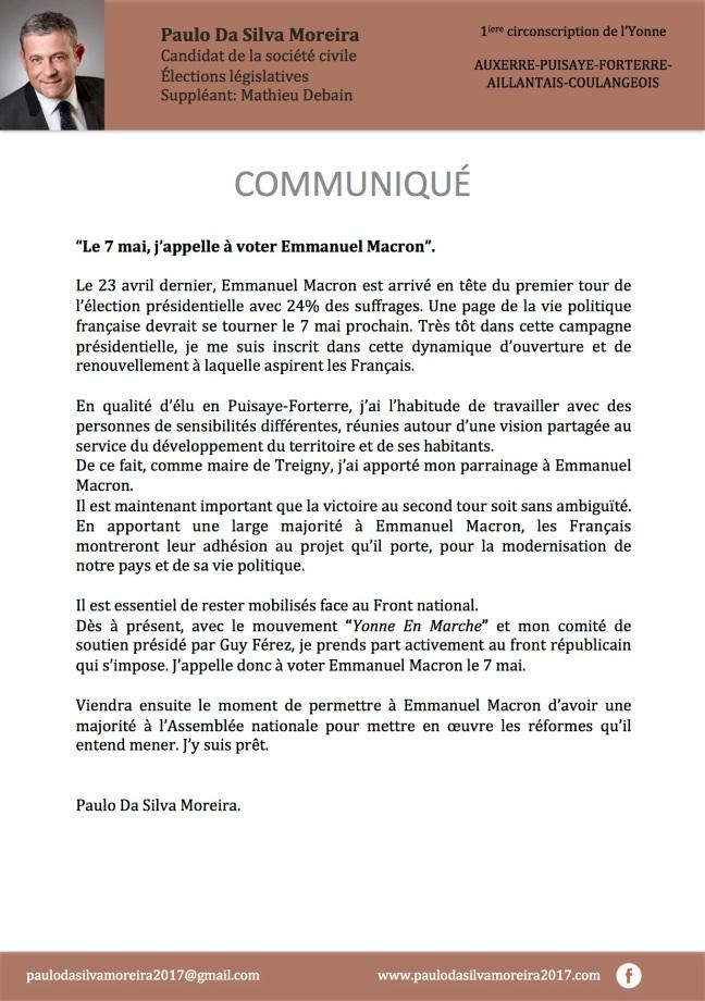 Commniqué Paulo Da Silva 26 avril